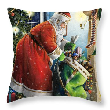 Filling The Stockings Throw Pillow