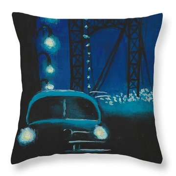 Film Noir In Blue #1 Throw Pillow