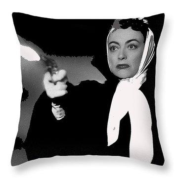 Film Noir Joan Crawford Jack Palance Sudden Fear 1952 Rko Publicity Photo Color Added 2012 Throw Pillow