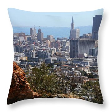 Financial District From Corona Heights Throw Pillow by Robert Woodward