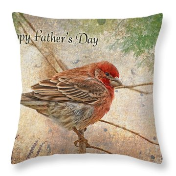 Finch Greeting Card Father's Day Throw Pillow by Debbie Portwood