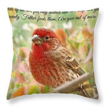 Finch With Verse New Version Throw Pillow