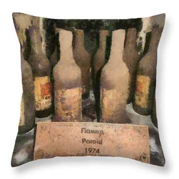 Find Vintage White Wine Pamid 1974 Throw Pillow by Georgi Dimitrov
