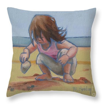 Finding A Shell Throw Pillow by Mary Hubley