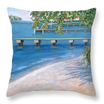Throw Pillow featuring the painting Finding Flagler by Karen Zuk Rosenblatt