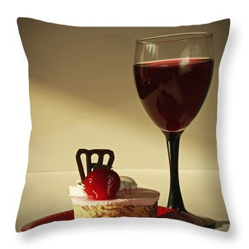 Fine Red Wine And Strawberry Marble Torte Dessert Throw Pillow by Inspired Nature Photography Fine Art Photography