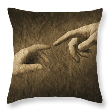 Fingers Almost Touching Throw Pillow by Don Hammond