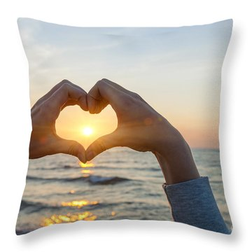 Fingers Heart Framing Ocean Sunset Throw Pillow