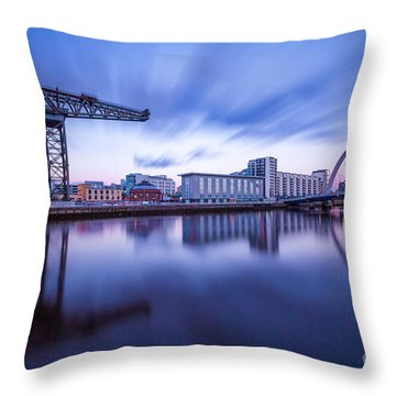 Finnieston Crane And Glasgow Arc Throw Pillow by John Farnan