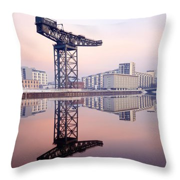 Finnieston Crane Reflection Throw Pillow