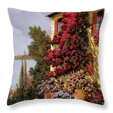 Fiori Rosssi E Muri Gialli Throw Pillow by Guido Borelli