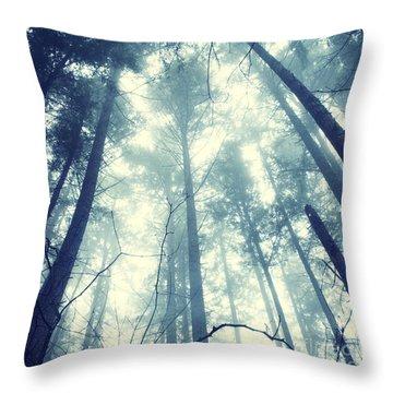 Fir Forest Fog - Hipster Photo Square Throw Pillow