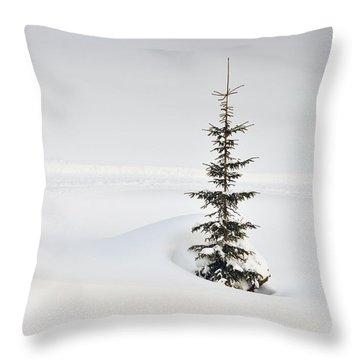 Fir Tree And Lots Of Snow In Winter Kleinwalsertal Austria Throw Pillow by Matthias Hauser