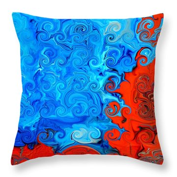 Fire Acrylic Abstract Art By Saribelle Throw Pillow by Saribelle Rodriguez