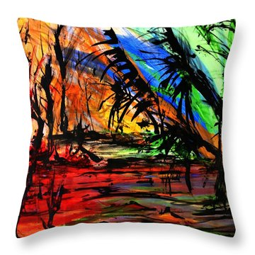 Fire And Flood Throw Pillow by Helen Syron
