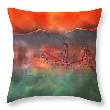 Fire And Ice Misty Morning Throw Pillow by Betsy Knapp