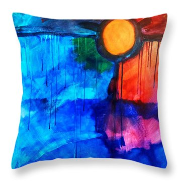 Fire And Ice Throw Pillow by Nancy Merkle