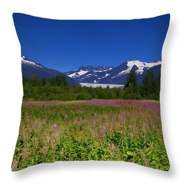 Fire And Ice Of Mendenhall Glacier Throw Pillow