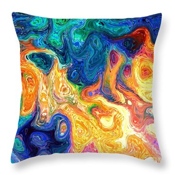 Throw Pillow featuring the digital art Fire And Water Abstract Art by Annie Zeno