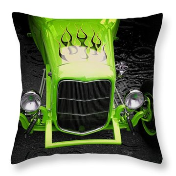 Classic Cars Throw Pillow featuring the photograph Fire And Water Green Version by Aaron Berg