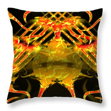 Throw Pillow featuring the digital art Fire Around The World by Melissa Messick