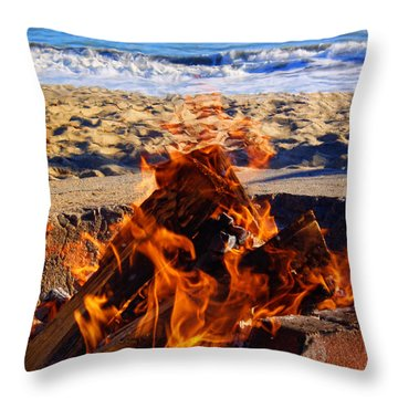 Throw Pillow featuring the photograph Fire At The Beach by Mariola Bitner