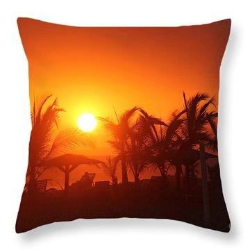 Fire Ball Sunset Throw Pillow by Bob Hislop