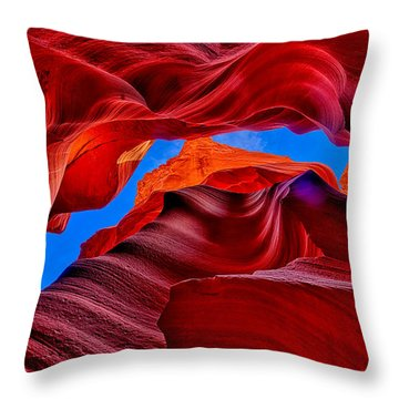 Fire Beneath The Sky In Antelope Canyon Throw Pillow by Greg Norrell