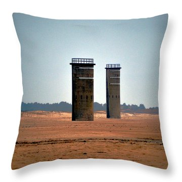 Fct5 And Fct6 Fire Control Towers On The Beach Throw Pillow