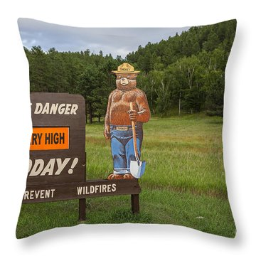Throw Pillow featuring the photograph Fire Danger Sign  by Bryan Mullennix