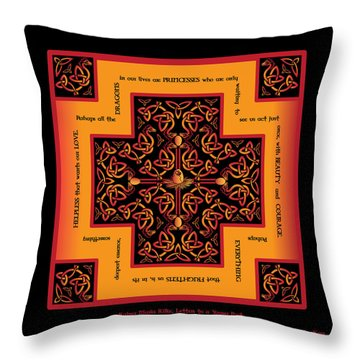 Fire Dragon Celtic Cross Throw Pillow