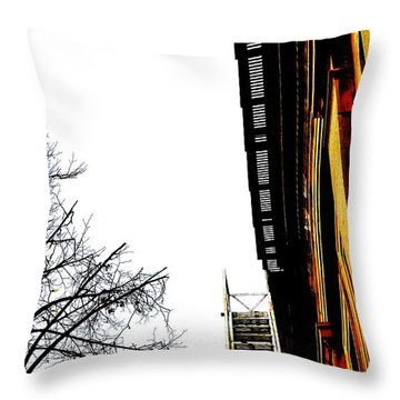 Fire Escape And Clock - Ontario - Canada Throw Pillow