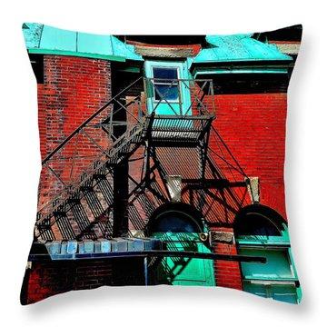 Fire Escape Imprints - Perspective 1 - Ontario - Canada Throw Pillow