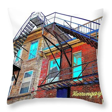 Fire Escape Reflections - Canada Throw Pillow