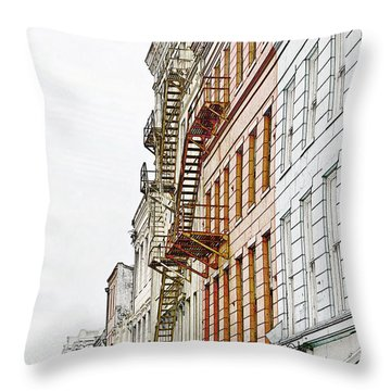 Fire Escapes New Orleans Throw Pillow by Christine Till