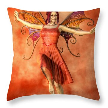 Fire Fairy Throw Pillow by Kaylee Mason