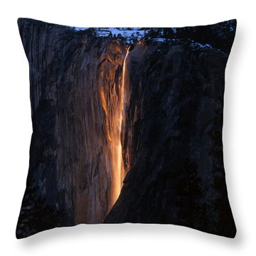Fire Falls In Yosemite  Throw Pillow