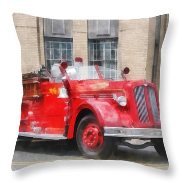 Fire Fighters - Vintage Fire Truck Throw Pillow by Susan Savad