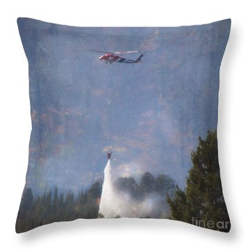 Fire Fighting Helicopter Throw Pillow