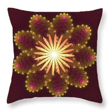 Fire Flower Mandala Throw Pillow by Svetlana Nikolova