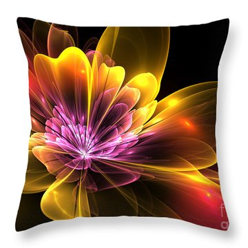 Fire Flower Throw Pillow by Svetlana Nikolova