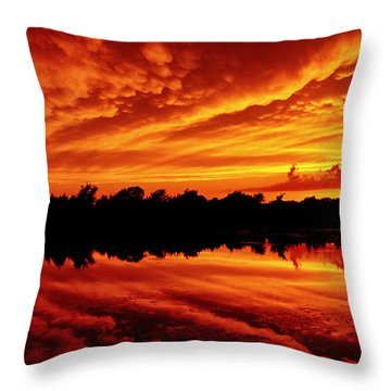 Throw Pillow featuring the photograph Fire In The Sky by Jason Politte