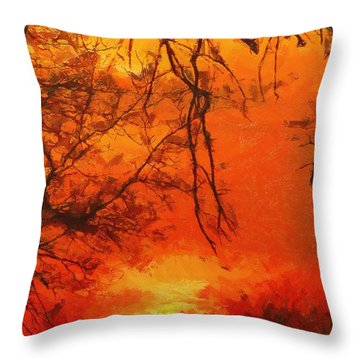 Fire In The Sky Throw Pillow by Jeff Kolker
