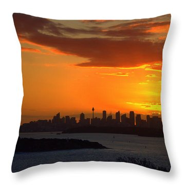Throw Pillow featuring the photograph Fire In The Sky by Miroslava Jurcik