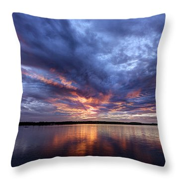 Fire In The Sky Sunset Over The Lake Throw Pillow