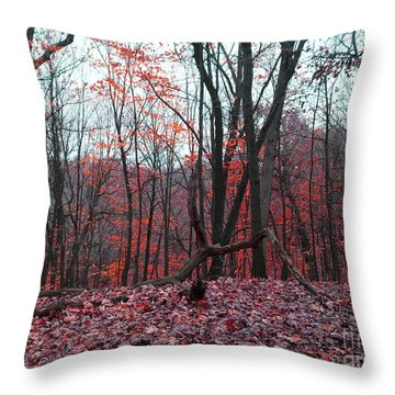 Fire In The Woodland Throw Pillow