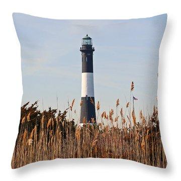 Throw Pillow featuring the photograph Fire Island Tower by Karen Silvestri