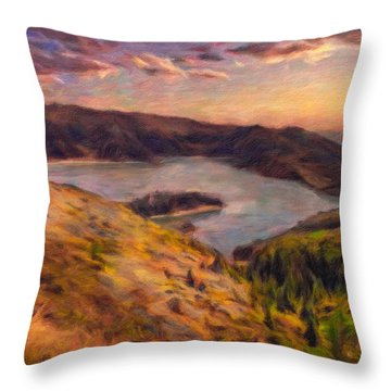 Fire Lake At Sunset Throw Pillow