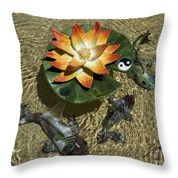 Throw Pillow featuring the sculpture Fire Lotus With Dragon Koi by Suzette Kallen