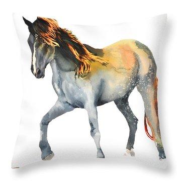 Da110 Fire Mane By Daniel Adams Throw Pillow